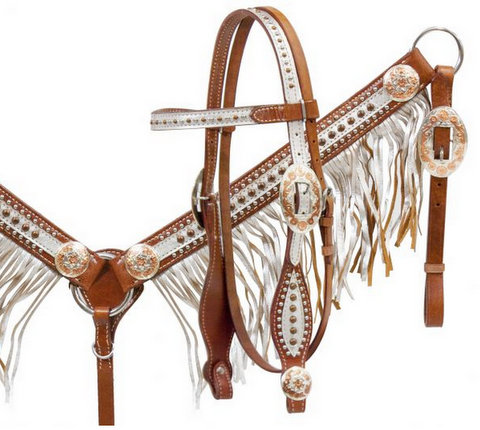 Medium leather headstall and breast collar set with silver overlay and fringe with rose gold accents