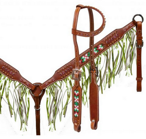 Medium leather headstall and breast collar set with beaded inlay and metallic lime fringe