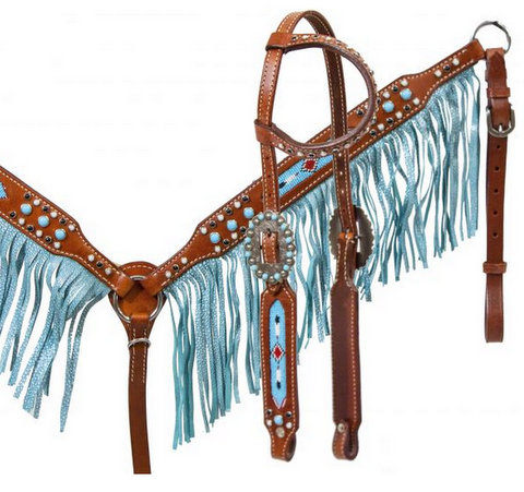 Medium leather headstall and breast collar set with beaded inlay and turquoise sting ray print fringe.