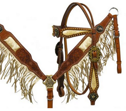 Argentina cow leather gold fringe headstall and breast collar set with star conchos