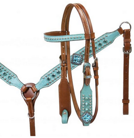 Pony size Turquoise leather overlay headstall and breast collar set with turquoise cyrstal rhinestones.