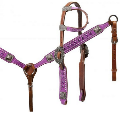 Purple paisley print headstall and breast collar set.