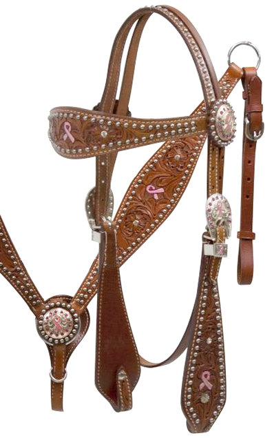 Pink Hope Ribbon Headstall and Breast Collar Set.- Pink Hope Ribbon Headstall and Breast Collar Set.