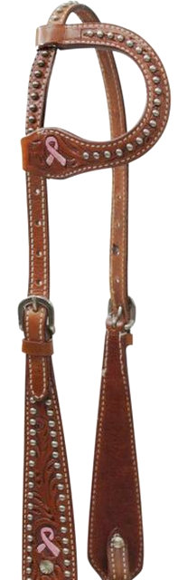 One Ear Headstall with Painted Pink Ribbon