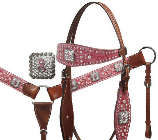 Pink Ribbon Headstall and Breast Collar Set with Crystal Rhinestones.