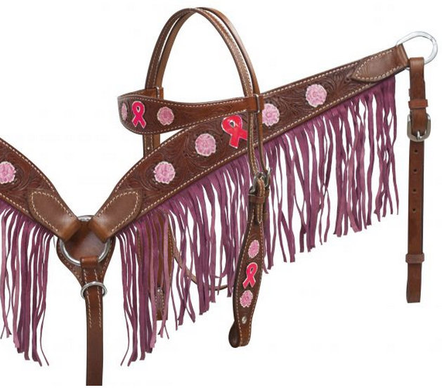 BREAST CANCER AWARENESS Medium leather headstall and breast collar set with suede fringe-BREAST CANCER AWARENESS Medium leather headstall and breast collar set with suede fringe