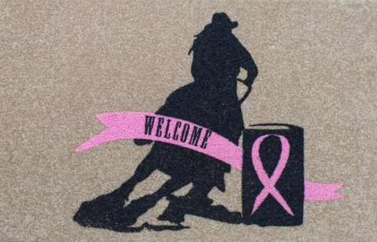 "27"" x 18"" Pink ribbon welcome mat."