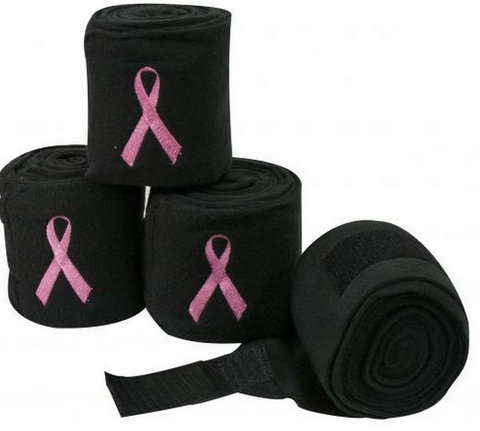 Black fleece polo wraps with embroidered pink ribbon.