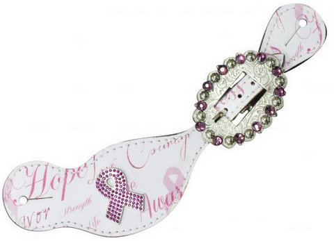 "Ladies size spur straps with ""Hope"" print"