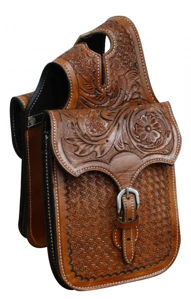 Tooled leather horn bag-Tooled leather horn bag