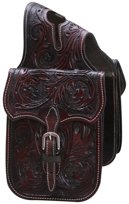 Floral tooled leather horn bag-Floral tooled leather horn bag