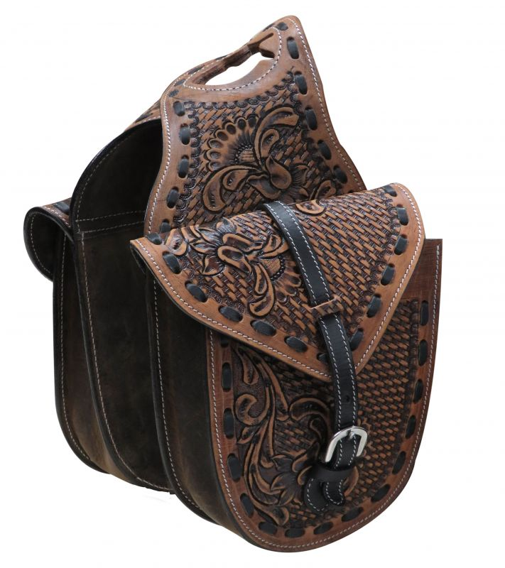 Floral and basket weave tooled leather horn bag