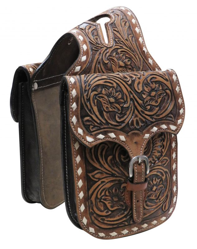 Floral tooled leather horn bag.-Floral tooled leather horn bag.