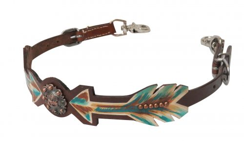 Medium leather wither strap with painted arrows and praying cowboy concho- Medium leather wither strap with painted arrows and praying cowboy concho