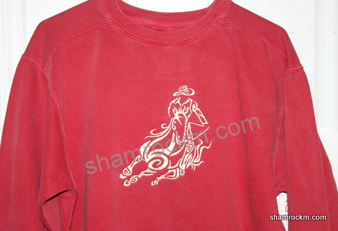 Comfort Color sweatshirt with barrel racer design-Comfort Color sweatshirt with barrel racer design