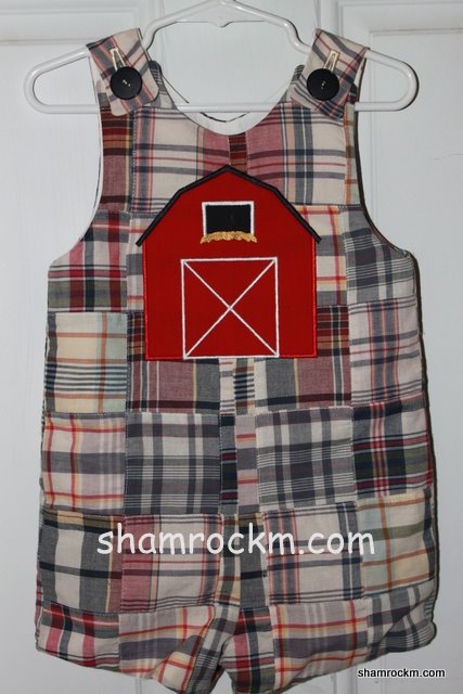 Patchwork Jon-Jon with Red Barn- applique embroidery