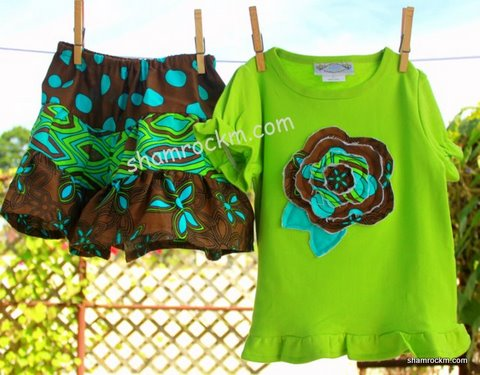 Twirl Skirt and Ruffle Top (lime green)-twirl skirt, ruffle skirt, girls clothing, raggy flower design,ruffle top custom clothing
