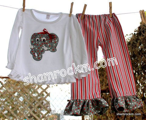 Girl Elephant & Ruffle Pants-Great outfit for game day!