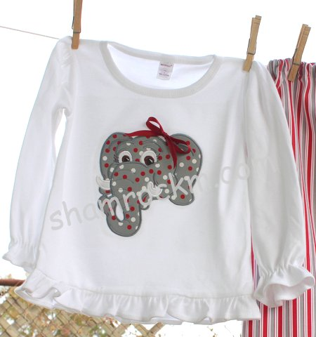 Girl Elephant Ruffle Shirt-Girl Elephant Ruffle Shirt