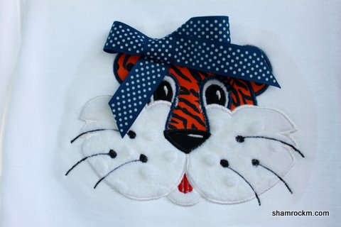 Girl Tiger Face-girl tiger face, applique tiger, sports team applique, auburn tiger, war eagle,