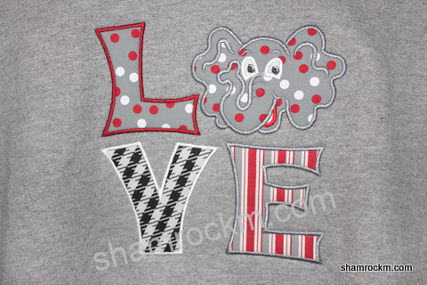 LOVE Alabama-Alabama applique designs, bama applique designs, Alabama elephant applique designs
