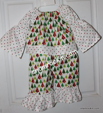 Christmas Tree outfit-ruffle pants, peasant top, childrens clothing, boutique childrens clothing, christmas tree fabric