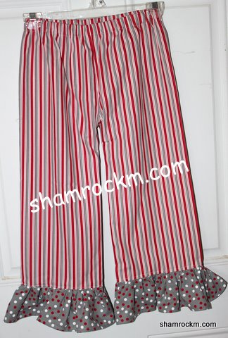 Bama Ruffle Pants-bama ruffle pants, alabama clothing, crimson pants, ruffle pants, crimson stripe pants,