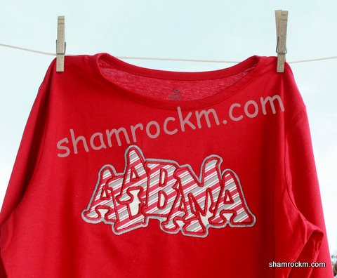 """jumbled"" Alabama with stripe fabric-"