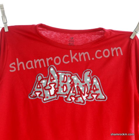"""jumbled"" Alabama with polka dot fabric"