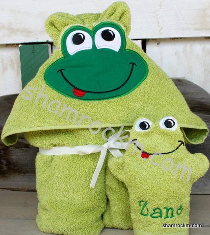 Froggy Towel and Mitt