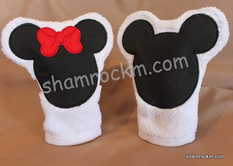 Boy and Girl Mouse Bath Mitt Pair