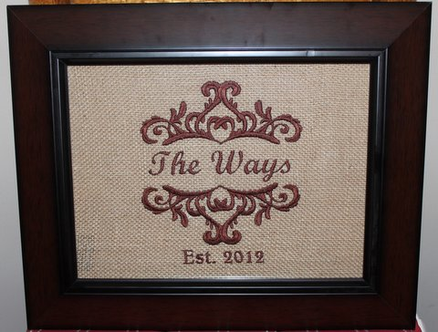 Embroidery on Burlap Framed