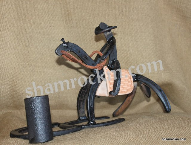 Horse Shoe Art Barrel Racer