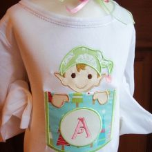 Elf Pocket Alphabet-elf, pocket appliques, Christmas