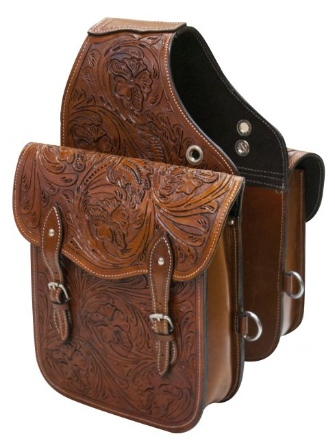 Tooled leather saddle bag-Tooled leather saddle bag