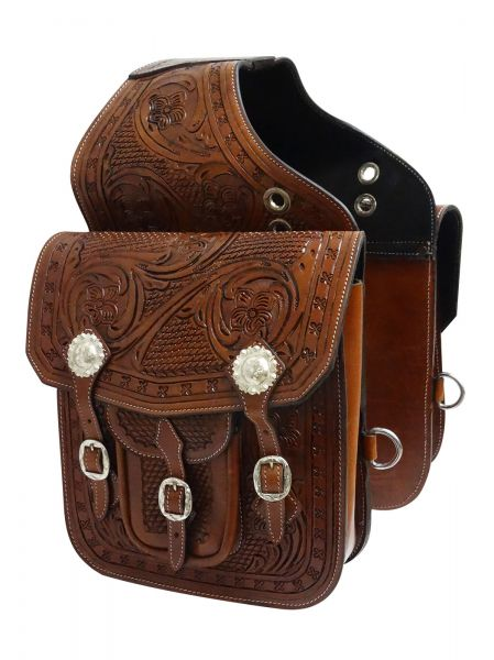 Tooled leather saddle bag with engraved silver conchos and buckles- Tooled leather saddle bag with engraved silver conchos and buckles