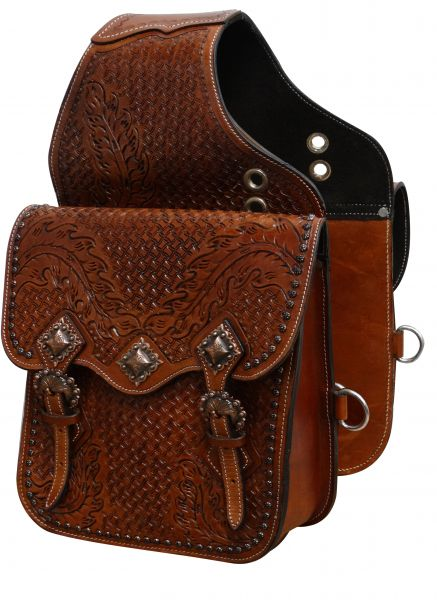 Tooled leather saddle bag with antique copper hardware- Tooled leather saddle bag with antique copper hardware