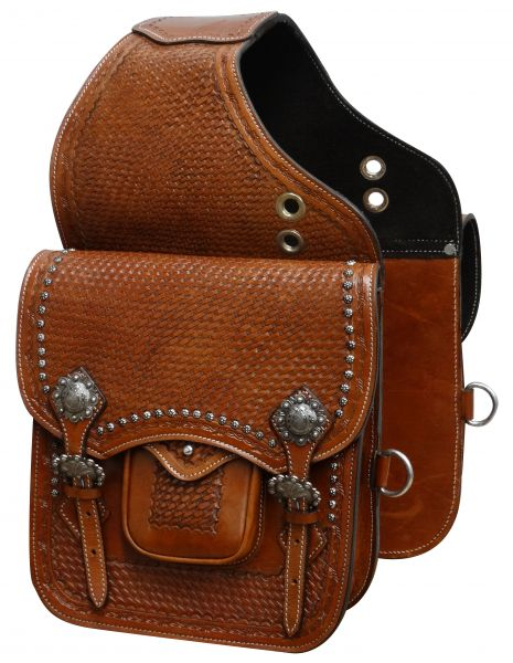 Tooled leather saddle bag with engraved brushed nickel hardware