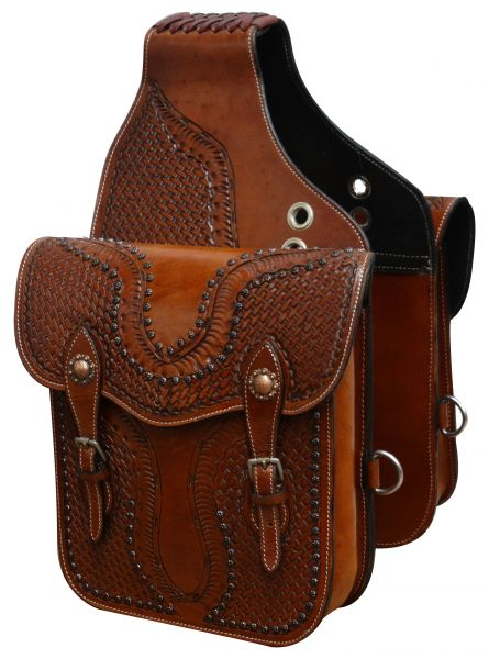 Tooled leather saddle bag with antique copper hardware-Tooled leather saddle bag with antique copper hardware