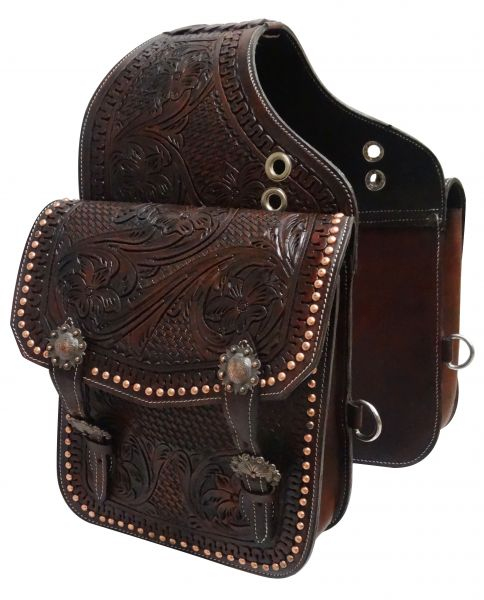 Tooled dark oil leather saddle bag with engraved antique bronze conchos and buckles