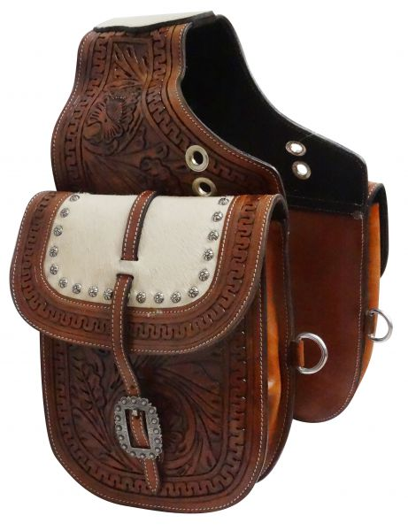 Tooled leather saddle bag with hair-on cowhide overlay- Tooled leather saddle bag with hair-on cowhide overlay