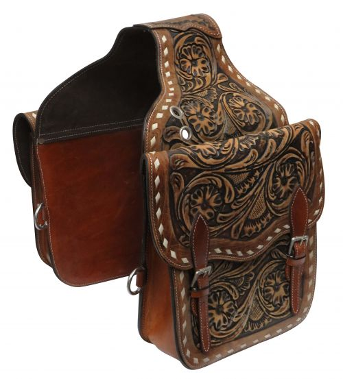 Tooled leather saddle bag
