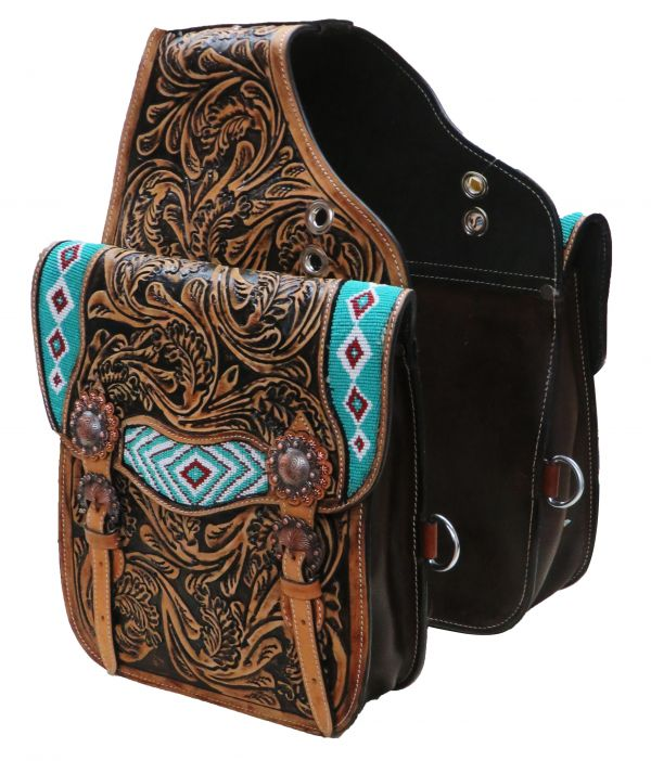Tooled leather saddle bag with beaded inlay