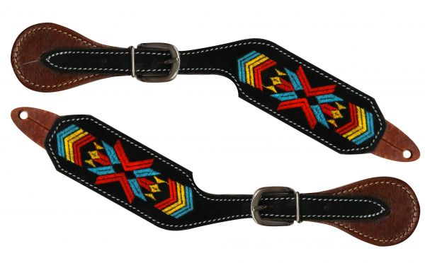 Navajo embroidered spur straps