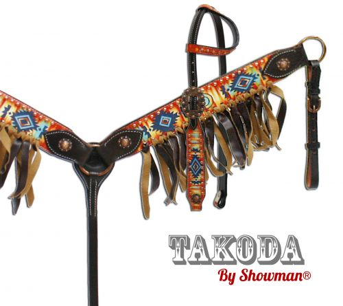""" Takoda"" headstall and breast collar set with southwest design"