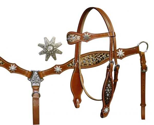 Headstall and Breast Collar Set with Cut Out Alligator Print Accented with Spur Rowel Conchos and Crystal Rhinestone Studs- Headstall and Breast Collar Set with Cut Out Alligator Print Accented with Spur Rowel Conchos and Crystal Rhinestone Studs