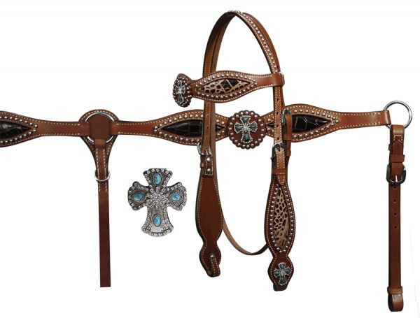 Double Stitched Leather Headstall and Breast Collar set With Alligator Print and Silver Cross Conchos-Double Stitched Leather Headstall and Breast Collar set With Alligator Print and Silver Cross Conchos