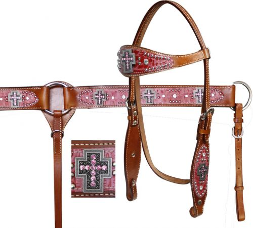 Double Stitched Leather Headstall and Breast Collar Set with Alligator Print and Cross Conchos-Double Stitched Leather Headstall and Breast Collar Set with Alligator Print and Cross Conchos