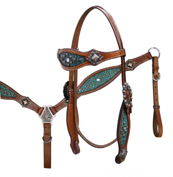 Headstall and Breast Collar Set with Teal Alligator Print Inlay.- Headstall and Breast Collar Set with Teal Alligator Print Inlay.