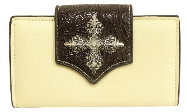 Cream leather wallet with brown embossed design flip over clasp accented crystal rhinstone cross